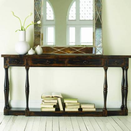 Hooker Furniture Sanctuary Four-Drawer Thin Console in Ebony at Pine Tree Barn