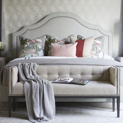 Request a quote on the Custom Upholstered Bed Program at Pine Tree Barn