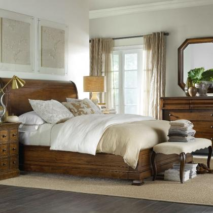 Archivist King Sleigh Bed with Platform Footboard by Hooker Furniture at Pine Tree Barn