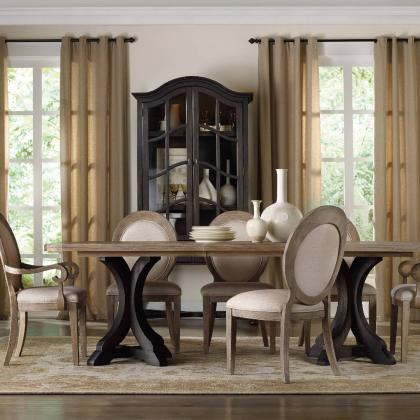 Corsica Dark Rectangle Pedestal Dining Table by Hooker Furniture at Pine Tree Barn